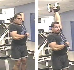 Standing Overhead Dumbbell Extensions
